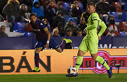January 10, 2019 - Valencia, Valencia, Spain - Jose Luis Morales of Levante UD and Clement Lenglet of FC Barcelona during the Spanish Copa del Rey match between Levante and Barcelona at Ciutat de Valencia Stadium on Jenuary 10, 2019 in Valencia, Spain. (Credit Image: © Maria Jose Segovia/NurPhoto via ZUMA Press)