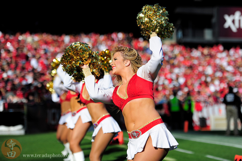 December 1, 2013; San Francisco, CA, USA; San Francisco 49ers Gold Rush cheerleader Ali performs during the first quarter against the St. Louis Rams at Candlestick Park.