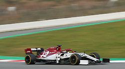 Alfa Romeo's Antonio Giovinazzi during day two of pre-season testing at the Circuit de Barcelona-Catalunya.