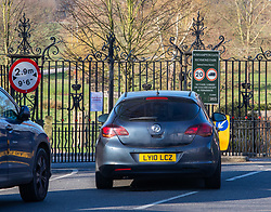 © Licensed to London News Pictures. 23/03/2020. London, UK. A car driver stops at a sign saying Park Roads Closed which has been posted on the gates of Roehampton Gate, Richmond Park this morning. Royal Parks have temporarily banned all cars from entering Richmond Park, Bushy Park and Greenwich Park after a huge surge in traffic on Saturday and Sunday with large numbers of people ignoring the social distancing guidelines. Cyclists and walkers can continue to enter the parks as the coronavirus crisis continues. Photo credit: Alex Lentati/LNP