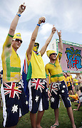Aussie Cricket fans at the ICC Cricket World Cup Super 8 Match, Australia vs Bangladesh at the Sir Vivian Richards Cricket Ground in Antigua, West Indies on Saturday 31 March 2007. Australia won by 10 wickets. Photo: Andrew Cornaga/PHOTOSPORT<br />