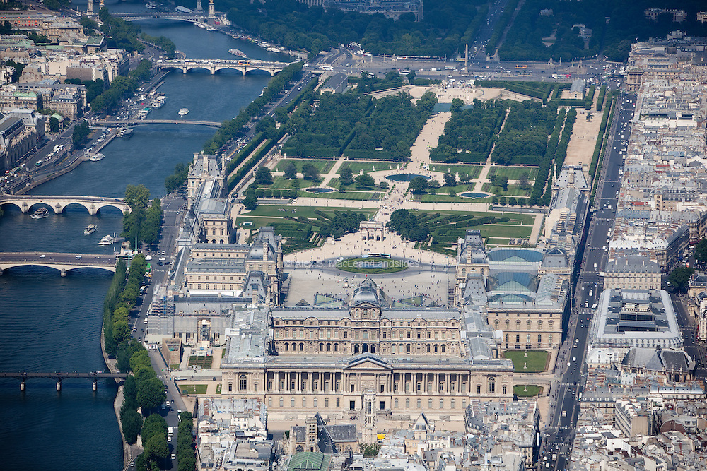 View of the Louvre Museum and the Tuilleries Garden.