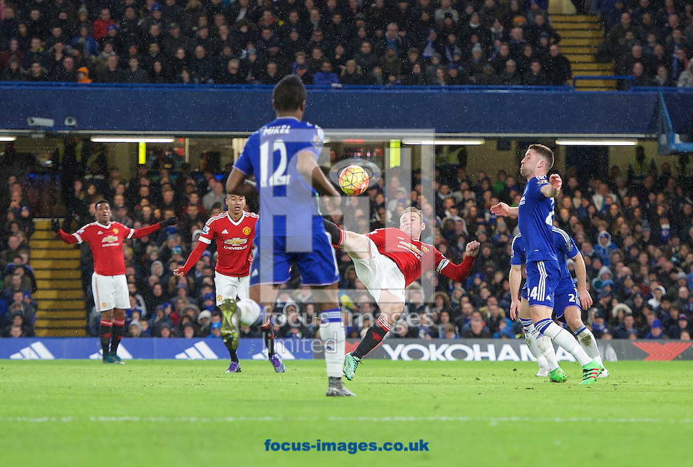 Wayne Rooney of Manchester United tries an overhead kick during the Barclays Premier League match at Stamford Bridge, London<br /> Picture by Alan Stanford/Focus Images Ltd +44 7915 056117<br /> 07/02/2016