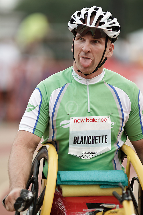 Falmouth Road Race: Falmouth Wheelchair Mile, Craig Blanchette sticks tongue out