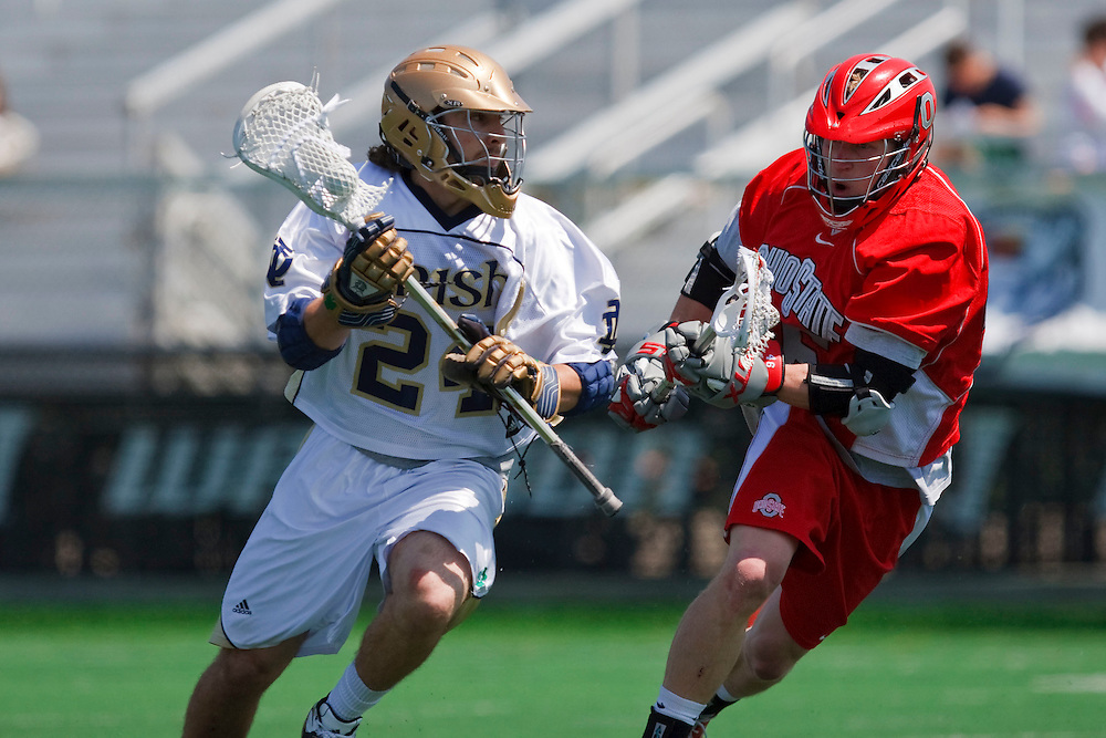 May 3, 2009:  #24 Eric Keppeler of Notre Dame and #45 Keenan Ochwat of Ohio State in action during the NCAA Lacrosse game between Notre Dame and Ohio State at GWLL Tournament in Birmingham, Michigan. Notre Dame defeated OSU 16-7. (Credit Image: Rick Osentoski/Cal Sport Media)