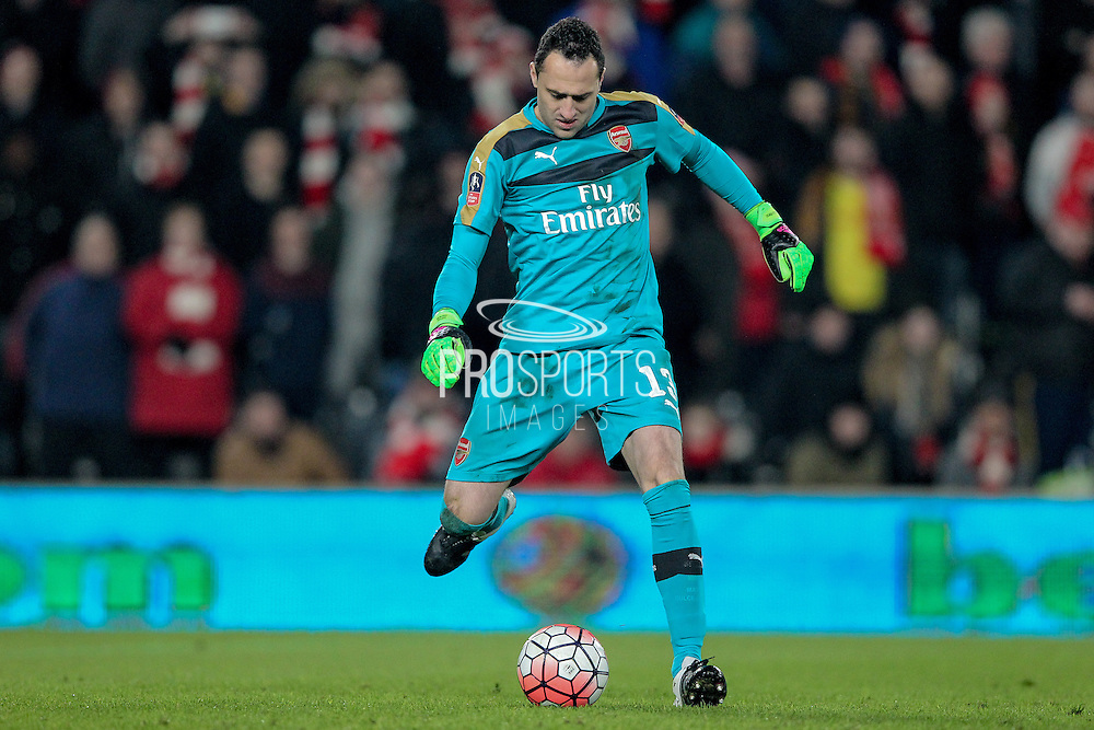 David Ospina (Arsenal) during the The FA Cup fifth round match between Hull City and Arsenal at the KC Stadium, Kingston upon Hull, England on 8 March 2016. Photo by Mark P Doherty.