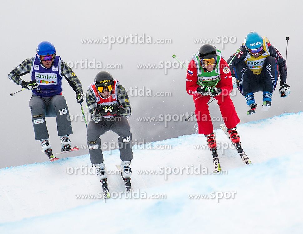 22.12.2013, Haunold Innichen, Wien, ITA, FIS Ski Cross Weltcup, Achtelfinale der Herren im Bild David Duncan (CAN, red), Christopher Delbosco (CAN, blue), Terence Tchiknavorian (FRA, yellow), Sergey Mozhaev (RUS, green) // during eight finals of men of FIS Ski Cross World Cup at Haunoldi, San Candido, 2013-12-22, EXPA Pictures © 2013 PhotoCredit: EXPA/ Michael Gruber