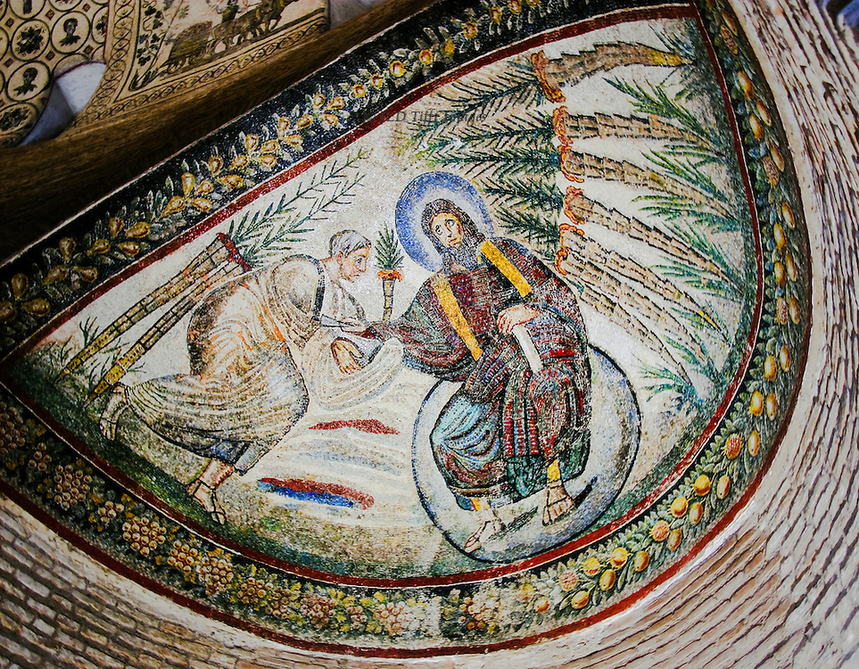Santa Costanza, apse mosaic, 5th - 7th century; Christ seated on a globe handing keys to St. Peter. Heavily restored Early Christian mosaic.