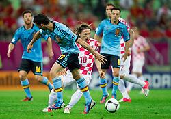 Álvaro Arbeloa of Spain vs Luka Modric of Croatia during the UEFA EURO 2012 group C match between  Croatia and Spain at PGE Arena Gdansk on June 18, 2012 in Gdansk / Danzig, Poland. (Photo by Vid Ponikvar / Sportida.com)