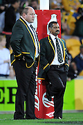 Peter de Villiers and Os du Randt watch the warm-up prior to kick off during action from the Tri-Nations Rugby Test Match played between Australia and South Africa at Suncorp Stadium (Brisbane, Australia) on Saturday 24th July 2010<br /> <br /> Conditions of Use : This image is intended for Editorial use only (news or commentary, print or electronic) - Required Images Credit &quot;Steven Hight - Auraimages/Photosport