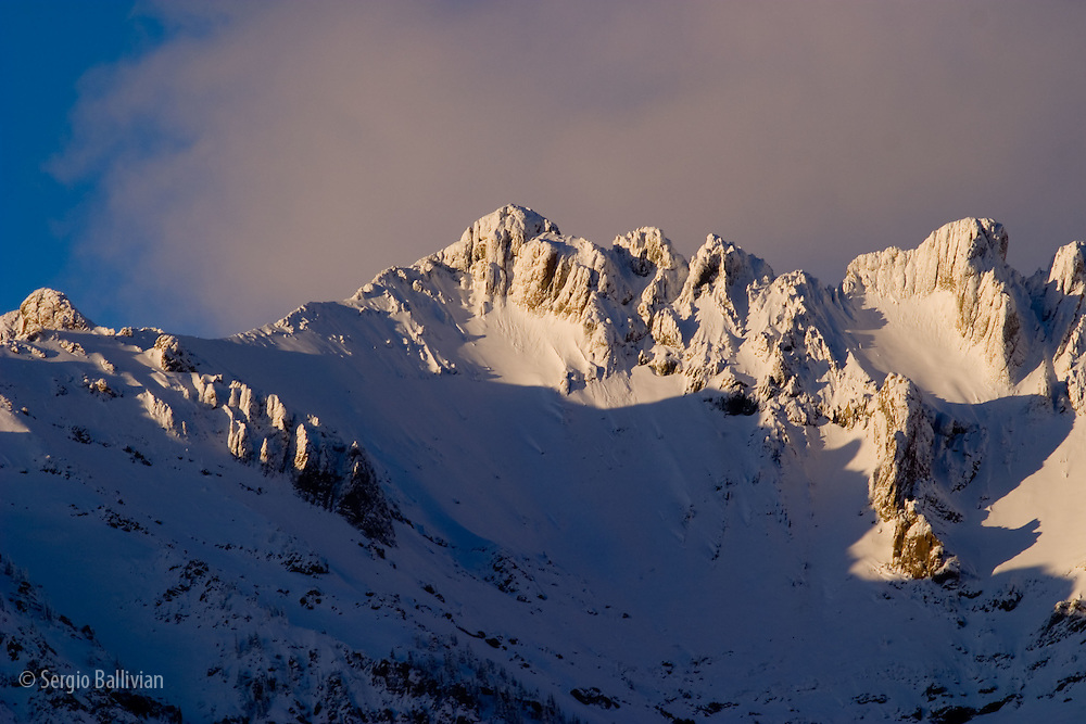 Winter snows cover the San Juan Mountains at sunset near Telluride, Colorado