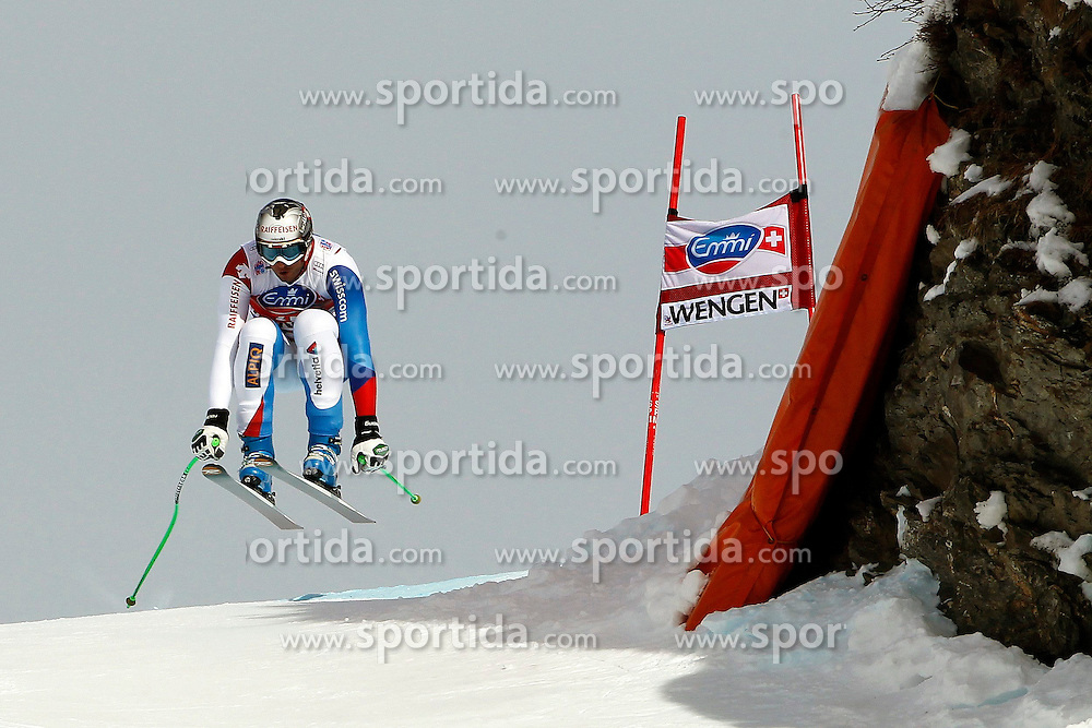 19.01.2013, Lauberhornabfahrt, Wengen, SUI, FIS Weltcup Ski Alpin, Abfahrt, Herren, im Bild Sivan Zurbriggen (SUI) // in action during mens downhillrace of FIS Ski Alpine World Cup at the Lauberhorn downhill course, Wengen, Switzerland on 2013/01/19. EXPA Pictures © 2013, PhotoCredit: EXPA/ Freshfocus/ Gerard Berthoud..***** ATTENTION - for AUT, SLO, CRO, SRB, BIH only *****