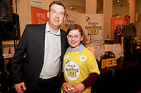 Alan Johnston Eason Marketing manager with Shauna Mullen St Mary's Primary School Strokestown Roscommon at the Eason Spelling Bee in the Hotel Meyrick, Galway from where Ryan Tubridy's  show was broadcast . Photo:Andrew Downes..