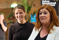 """Top US Model Cameron Russell with Bláthnaid Ní Chofaigh at the First Thoughts Talks  """"Looks Aren't  Everything"""" in the Bailey Allen in NUI, Galway. Photo: Andrew Downes, Xposure."""