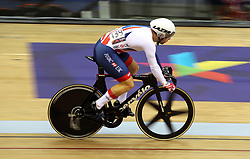 Great Britain's Philip Hindes in the men's sprint 1/16 finals - heat 3 during day four of the 2018 European Championships at the Sir Chris Hoy Velodrome, Glasgow.