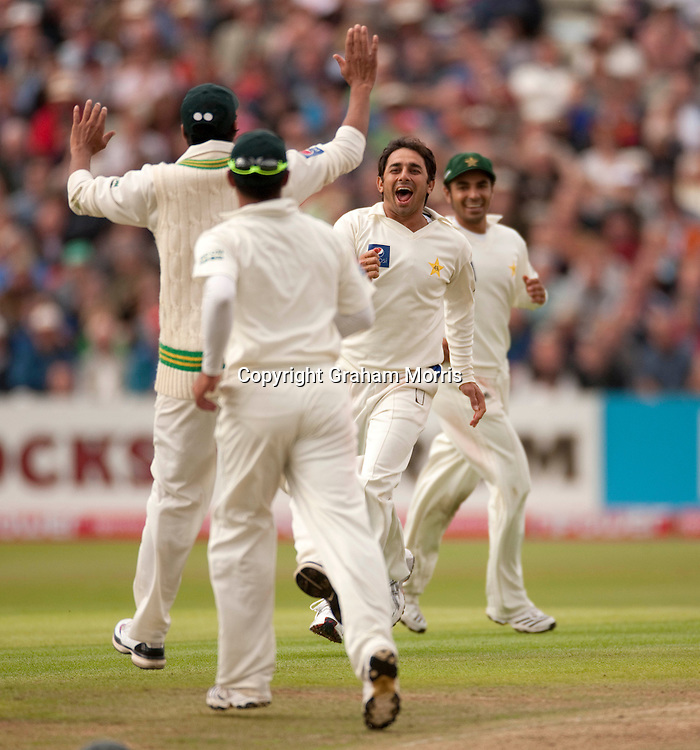 Saeed Ajmal celebrates taking the wicket of Paul Collingwood during the second npower Test Match between England and Pakistan at Edgbaston, Birmingham.  Photo: Graham Morris (Tel: +44(0)20 8969 4192 Email: sales@cricketpix.com) 07/08/10
