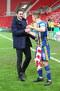 8 Greg Docherty for Shrewsbury Town celebrates the win with manager Paul Hurst during the The FA Cup 3rd round replay match between Stoke City and Shrewsbury Town at the Bet365 Stadium, Stoke-on-Trent, England on 15 January 2019.