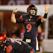 12 October 2018: San Diego State Aztecs quarterback Ryan Agnew (9) calls an audible during a play in the second quarter. The San Diego State Aztecs lead 14-9 at the half against the Air Force Falcons at SDCCU Stadium Friday night.