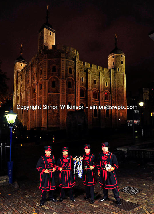 PICTURE BY SIMON WILKINSON/SWPIX.COM...Rugby League - Gillette 4 Nations 2011 - Rugby League International Federation International Player of the Year Awards 2011 - Tower of London, London, England - 02/11/11…Yoeman Warders and the Four Nations Trophy at the Tower of London.