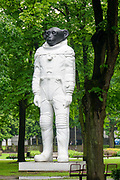 monument of monkey-cosmonaut Kronvalda park, Riga, Latvia