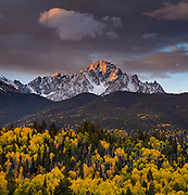 Mount Sneffels is the highest summit of the Sneffels Range in the San Juan Mountains of Colorado. The prominent 14,158-foot (4315.4 m) fourteener is located in the Mount Sneffels Wilderness of Uncompahgre National Forest.