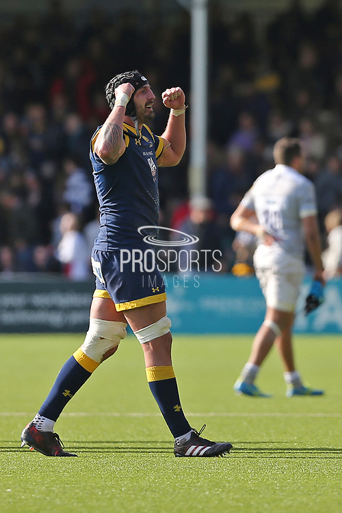 Worcester Warriors Will Spencer  Lock (5) celebrates the win over Bath 25-19 second half during the Aviva Premiership match between Worcester Warriors and Bath Rugby at Sixways Stadium, Worcester, United Kingdom on 15 April 2017. Photo by Gary Learmonth.
