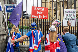 © Licensed to London News Pictures. 20/06/2018. London, UK. Anti-Brexit protesters shout through the fencing around  Parliament as MPs prepare to debate the EU Withdrawal Bill. Photo credit: Rob Pinney/LNP