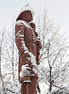 Middletown, New York - The fireman's statue is covered in snow after a storm dropped about two feet of snow on the city on Feb. 27, 2010.