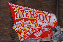 LIVERPOOL, ENGLAND - Saturday, January 26, 2008: A Liverpool flag flaps in the wind outside Anfield. (Photo by David Rawcliffe/Propaganda)