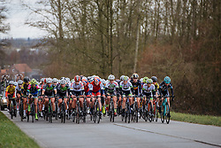 Altogether into Nokere - Dwars door Vlaanderen 2016, a 103km road race from Tielt to Waregem, on March 23rd, 2016 in Flanders, Netherlands.