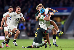 Zach Mercer of England takes on the South Africa defence - Mandatory byline: Patrick Khachfe/JMP - 07966 386802 - 03/11/2018 - RUGBY UNION - Twickenham Stadium - London, England - England v South Africa - Quilter International
