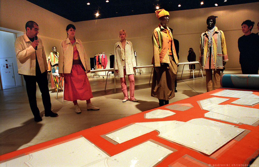 Presentation of how A-POC 12 were inspired and made..The A-POC 12 collection in the exhibition room of A-POC studios. .A-POC by Issey Miyake - TOKYO.©: Androniki Christodoulou.