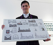 15 year-old Zoom Rickman, a published illustrator graphic novelist poses with his pen and ink drawings at the preview for the It&rsquo;s Our World charity auction at Christie's, Mayfair, London.<br /> Picture by Paul Davey/Focus Images Ltd +447966 016296<br /> 04/03/2016