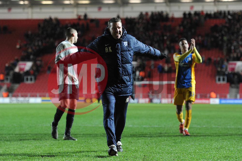 Alan Kelly celebrates as Preston beat Bristol City 2-1 - Mandatory byline: Dougie Allward/JMP - 12/01/2016 - FOOTBALL - Ashton Gate - Bristol, England - Bristol City v Preston North End - Sky Bet Championship