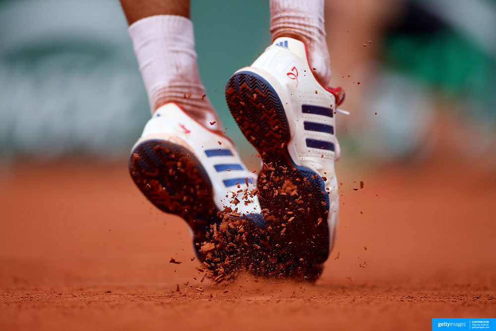 2017 French Open Tennis Tournament - Day Four.  Novak Djokovic of Serbia serving against Joao Sousa of Portugal on Court Suzanne Lenglen in the Men's Singles second round match match at the 2017 French Open Tennis Tournament at Roland Garros on May 31st, 2017 in Paris, France.  (Photo by Tim Clayton/Corbis via Getty Images)
