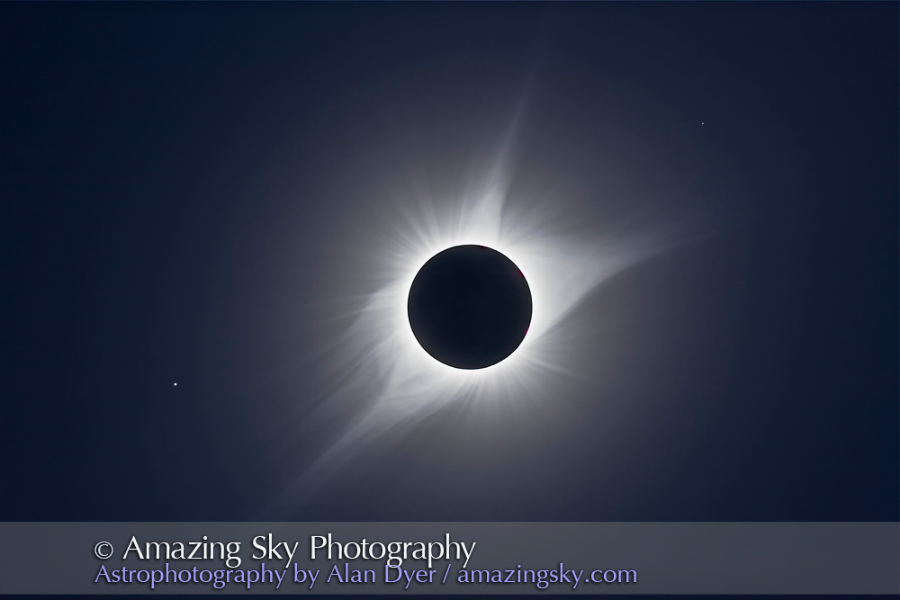 A composite of 12 exposures of the August 21, 2017 total eclipse of the Sun, from 1/1600 sec to 1 second, stacked as a smart object and combined using the Mean stack mode to blend the images. Several High Pass filter layers were added to sharpen and increase the contrast in the coronal structures. <br /> <br /> All taken through the 106mm Astro-Physics Traveler refractor with a 0.85x reducer/flattener, yielding f/5 at 500mm focal length, wide enough to capture Regulus at left. All with the Canon 6D MkII camera at ISO 100. <br /> <br /> Shot from a site in the Teton Valley, Idaho, north of Driggs.