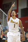 Dec 19, 2013; Long Beach, CA, USA; Long Beach State 49ers guard Tyler Lamb (1) celebrates after a 3-point basket during the game against the Southern California Trojans at Walter Pyramid. Long Beach State defeated USC 72-71.