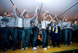 Players of Koper celebrate with fans at party after winning the  Final match of Slovenian Men Handball Cup between RK Cimos Koper and RK Celje Pivovarna Lasko, on April 19, 2009, in Arena Bonifika, Koper, Slovenia. Cimos Koper won 24:19 and became Slovenian Cup Champion. (Photo by Vid Ponikvar / Sportida)