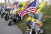 "Nebraska NE USA, A Veterans day ceremony at Omaha, NE. The bikers are a group called ""Patriot Guard Riders"", most of them Vietnam veterans, who try to raise awareness for war casualties and missing soldiers."