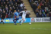 Wolverhampton Wanderers defender Matt Doherty (2) skips past Shrewsbury Town's Ryan Haynes during the The FA Cup fourth round match between Shrewsbury Town and Wolverhampton Wanderers at Greenhous Meadow, Shrewsbury, England on 26 January 2019.