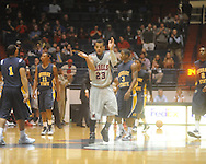 "Ole Miss guard Trevor Gaskins (23) cheers at the C.M. ""Tad"" Smith Coliseum in Oxford, Miss. on Wednesday, November 17, 2010."