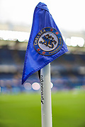 A general view of the Chelsea corner flag inside Stamford Bridge Stadium prior to the Premier League match between Chelsea and Liverpool at Stamford Bridge, London, England on 22 September 2019.