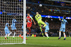 21st February 2017 - UEFA Champions League - Round of 16 (1st Leg) - Manchester City v AS Monaco - Man City goalkeeper Wilfredo Caballero punches clear from Radamel Falcao of Monaco - Photo: Simon Stacpoole / Offside.