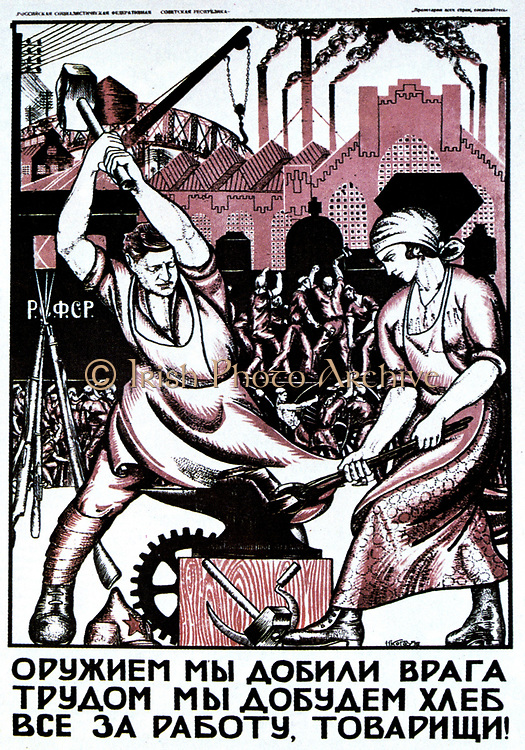 We have smashed our enemies with the force of arms.  .... Comrades to work!, 1920.  Soviet propaganda poster by  Nicolai Kogout. Russia USSR  Communism Communist