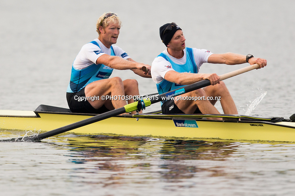 Men's Coxless Pair Eric Murray and Hamish Bond at the Rowing NZ Media Day, Lake Karapiro, Cambridge, New Zealand, Wednesday 6 May 2015. Photo: Stephen Barker/Photosport.co.nz
