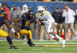 Oct 25, 2018; Morgantown, WV, USA; Baylor Bears wide receiver Tyquan Thornton (81) catches a pass during the third quarter against the West Virginia Mountaineers at Mountaineer Field at Milan Puskar Stadium. Mandatory Credit: Ben Queen-USA TODAY Sports