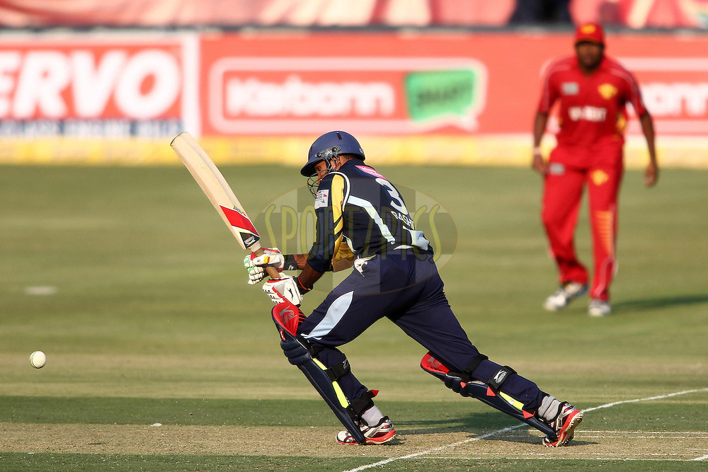 Adil Rashid of Yorkshire Carnegie plays a delivery through the leg side during 1st Qualifying match of the Karbonn Smart CLT20 South Africa between Uva Next and Yorkshire held at The Wanderers Stadium in Johannesburg, South Africa on the 9th October 2012..Photo by Shaun Roy/SPORTZPICS/CLT20