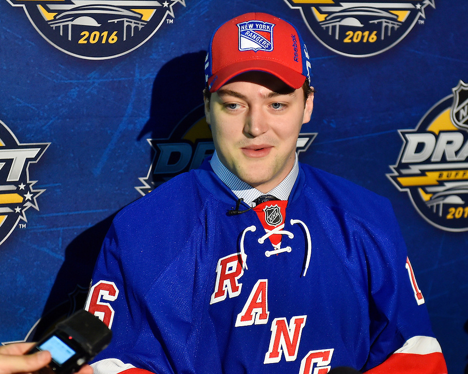 Sean Day of the Mississauga Steelheads was selected by the New York Rangers at the 2016 NHL Draft in Buffalo, NY on Saturday June 25, 2016. Photo by Aaron Bell/CHL Images