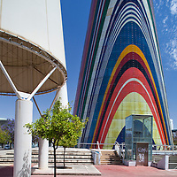 multi-coloured tower featuring the flags of the twelve nations of the European Union in 1992, Avenue of Europe, Expo 92, Seville, Spain