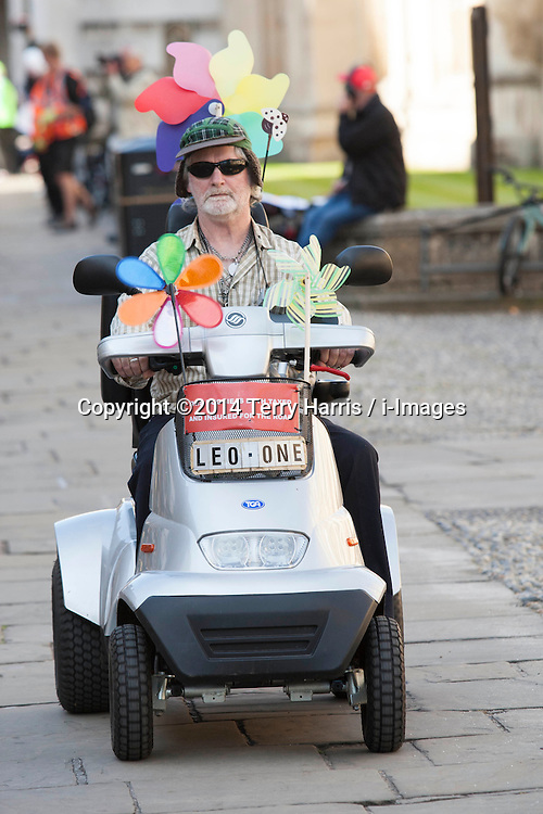 Image ©Licensed to i-Images Picture Agency. 07/07/2014. Cambridge, United Kingdom. Tour de France Stage 3 Cambridge. Cycle Fan in Cambridge, City Centre. Picture by Terry Harris / i-Images